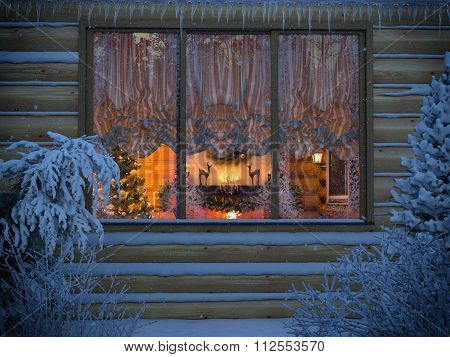3D Visualization Of A New Year's Interior From A House Window From A Felling. A Foreshortening From