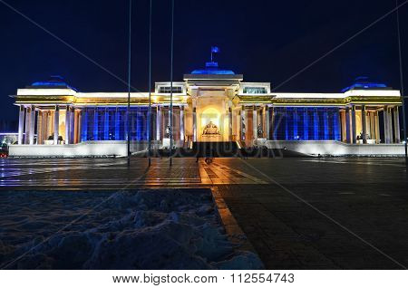Ulaanbaatar, Mn-dec 1, 2015:  Sukhbaatar Square And Mongolian Government Building At Night
