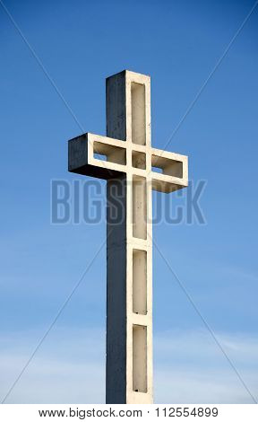Mount Soledad Cross Filled With Light From Low Sun
