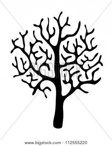 black tree without leaves on white background, illustration