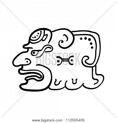 Face in style of Maya Indians, illustration on white background