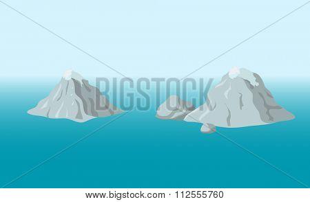 mountainous island in the ocean, illustration