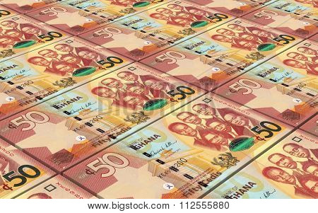 Ghanaian cedi bills stacks background. Computer generated 3D photo rendering.