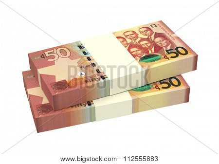 Ghanaian cedi bills isolated on white background. Computer generated 3D photo rendering.