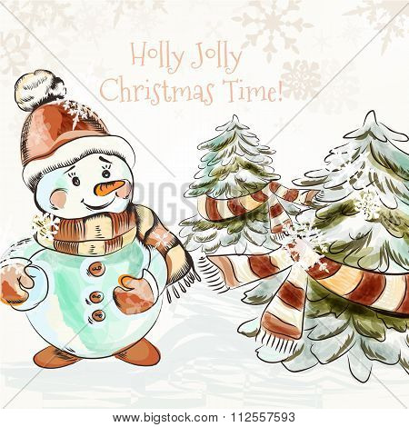 Christmas Outdoor Illustration With Pretty Little Snowman