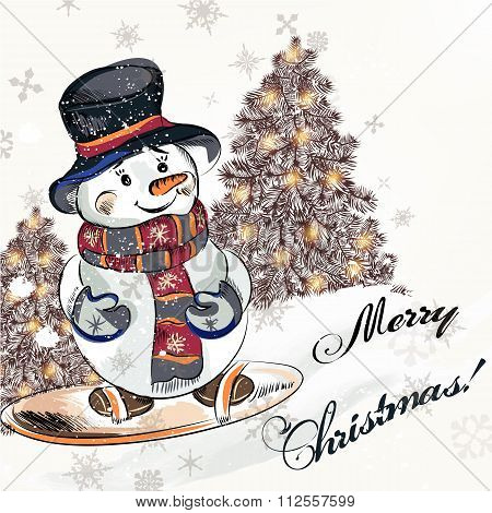 Christmas Greeting Card With  Little Pretty Snowmen On A Snowboard