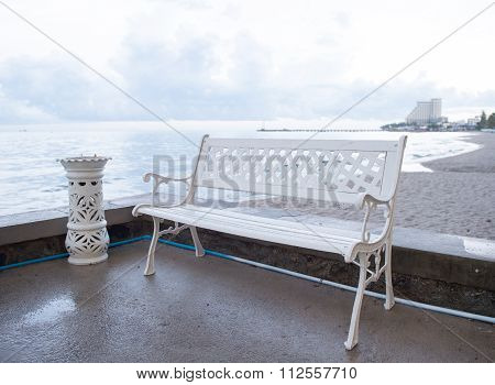 Art Bench And Ashtrays Located On The Beach