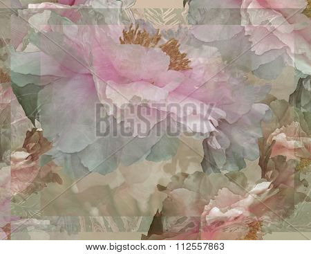 Floral Potpourri with Peonies in Pale Pink Green and Orange
