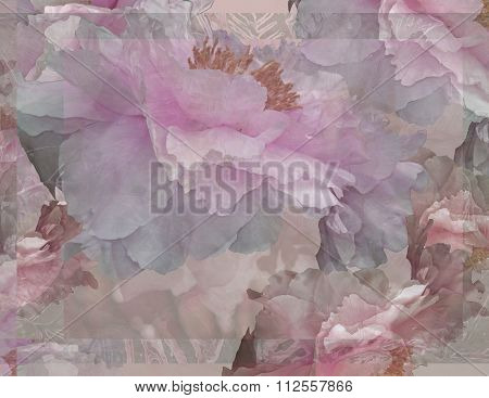 Floral Potpourri with Peonies in Pale Pink and Green