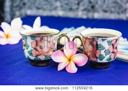 Double Cup Of Tea In Lovely Flower Pattern Mini Cups