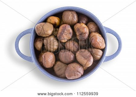 Earthenware Bowl Of Fresh Roasted Chestnuts
