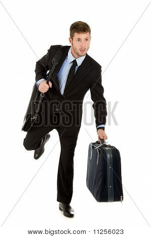 Young Attractive Businessman Runs