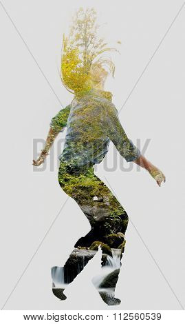 double exposure of nature and young woman dancing isolated on white background