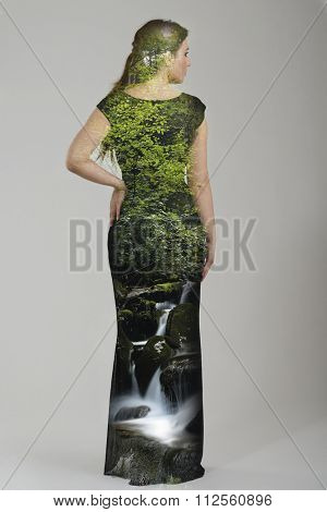 double exposure effect  of elegant woman in  fashionable  stylish dress posing in the studio