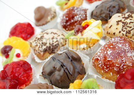 Close Up Of Small Cakes With With Different Stuffing