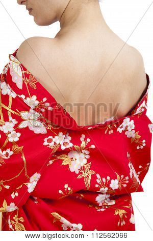 Japanese Woman In Traditional Clothes, Kimono, Closeup Of Back View