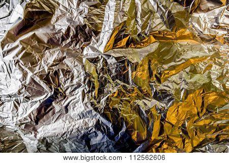 Gold Aluminum Foil Is Crumpled