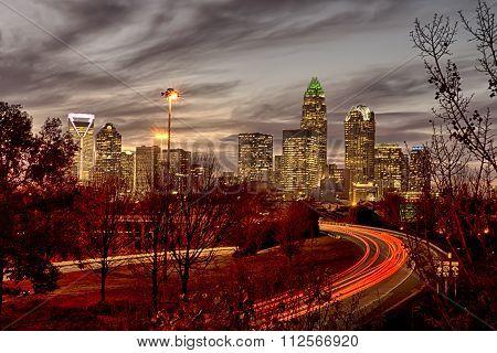 November Sun Setting Over Charlotte North Carolina Skyline