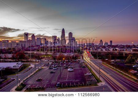 Charlotte North Carolinacity  Skyline At Sunset