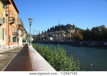 Embankment of the river Adige in Verona. Italy
