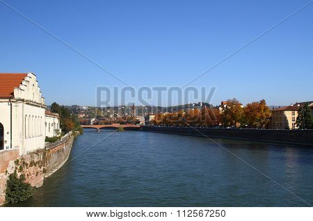 River Adige in Verona. Italy
