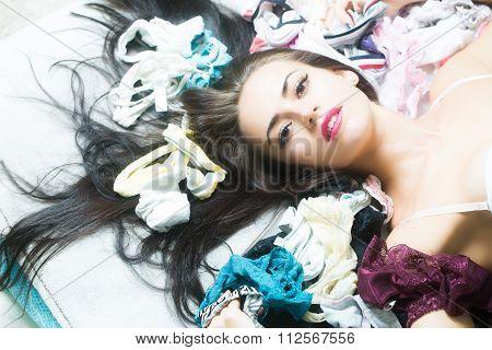 Woman Among Many Panties