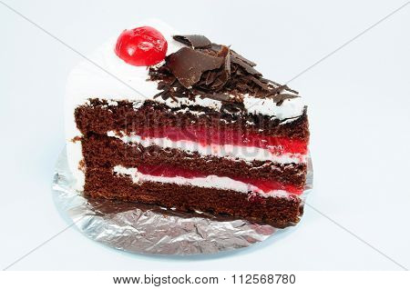 Side Of Choccolate Black Forest Cake And Cherry