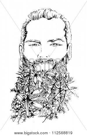beard and flowers men illustration