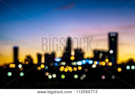 Abstract City Skyline Silhouette At Early Morning Sunrise
