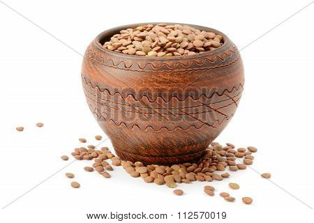 Lentils In A Clay Pot Isolated On White Background