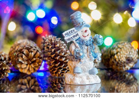 Smilingmerry Christmas Snowman With Christmas Lights