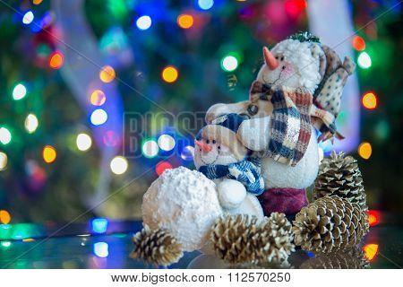 Smiling Merry Christmas Snowman With Christmas Lights