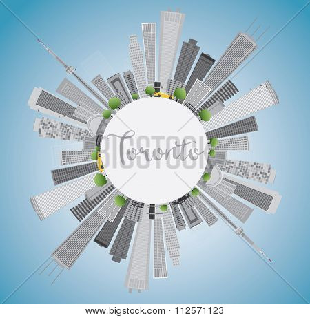 Toronto skyline with grey buildings, blue sky and copy space. Vector illustration. Business travel and tourism concept with place for text. Image for presentation, banner, placard and web site.