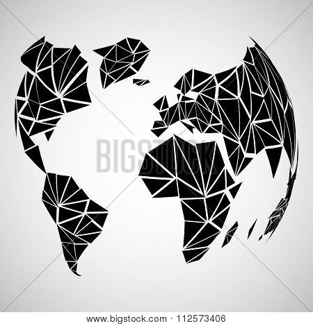 Abstract globe earth in polygonal style. Vector illustration. Eps 10