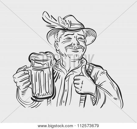 Oktoberfest vector logo design template. Beer, ale or drink, beverage icon