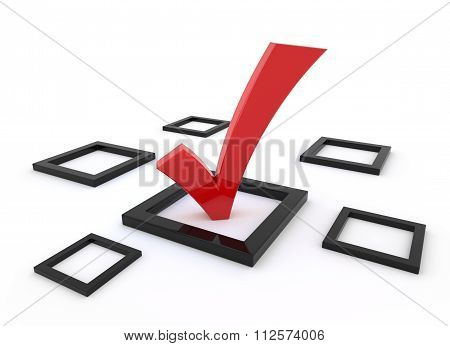 Red 3D Tick Symbol