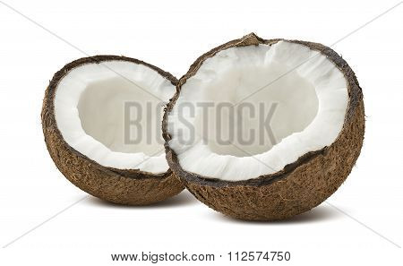 Rough Coconut Broken Half Pieces Isolated On White Background