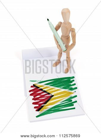 Wooden Mannequin Made A Drawing - Guyana