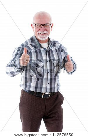 Smiling old senior man with glasses and white teeth