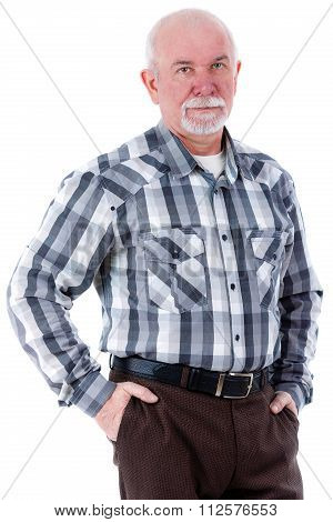 Portrait of happy senior old man with beard put hands in pocket