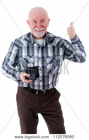 Happy smiling senior old man holding wallet and showing thumb up.