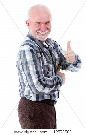 Senior old man from profile with white teeth all right gesture thumb up