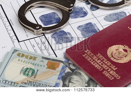 Fingerprint Card With Travel Passport Of Soviet Union