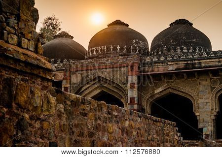 Ruins of lodhi garden delhi at sunset,