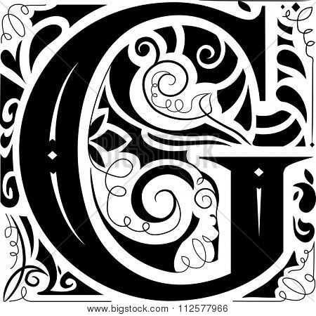 Illustration of a Vintage Monogram Featuring the Letter G