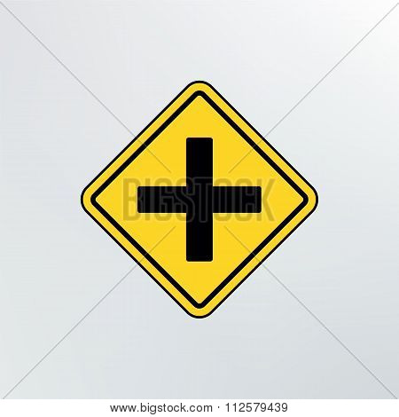 Intersection Ahead Road Icon.
