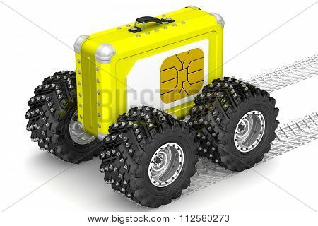 SIM-card for travel. Concept