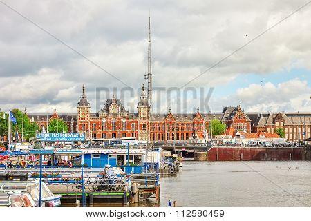 Amsterdam, Netherlands - September 15, 2015: Beautiful Buildings Amsterdam Central Station.(station
