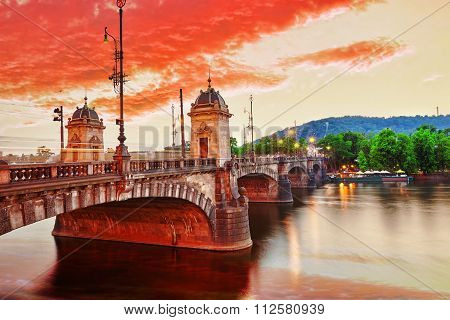 Beautiful View Old Bridge Legii (most Legii) From The Waterfront Of The Vltava River.prague.czech Re