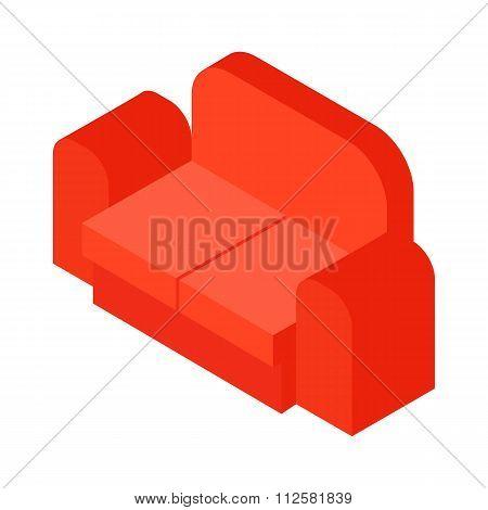 Red sofa isometric 3d icon